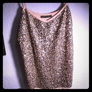 Susy Shear Sequin Cami Silver & Gold size Large